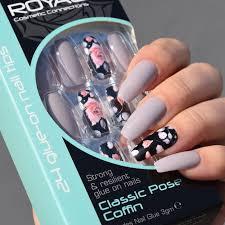 Royal Umělé Nehty Květinové šedé A šeříkové Classic Pose Coffin False Nails 24ks A Lepidlo 3g