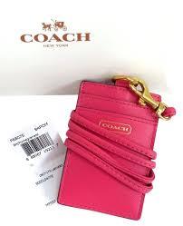 designer lanyard id holder get the t on coach leather lanyard id badge holder pomegranate