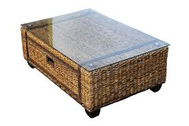 rattan coffee table with glass top wicker side tables indoor