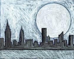 new york skyline black white painting