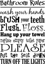 Bathroom Rules wash your hands brush your teeth cute Wall Vinyl ...