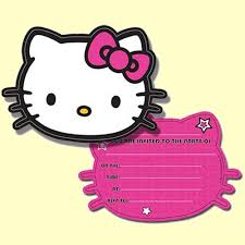 hello kitty photo invitations hello kitty pink party invitations in packs of 6 party wizard