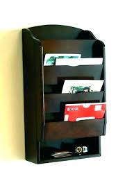 office mail organizer wall mounted organizers wood mount wooden letter holder and key rack org