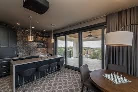 Black and Gray Game Room with Bar