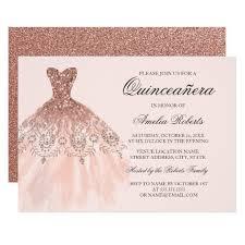 Invitations Quinceanera Rose Gold Sparkle Dress Quinceanera Invitation