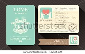Passport Wedding Invitation Card Design Template Stock Vector ...