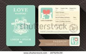 Passport Wedding Invitation Card Design Template Stock Vector ...