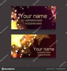 Set Business Cards Sparks Stars Dark Background Festive