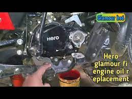 hero glamour bike oil filter and engine