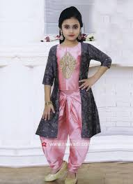 Dhoti Kurti Design For Girl Girls Silk Dhoti Suit With Jacket