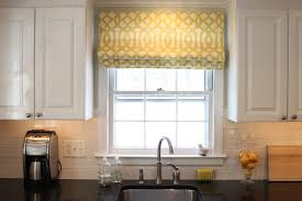 impressive diy kitchen window treatment idea with yellow curtain