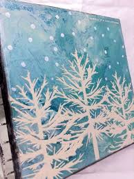 2 envision a canvas with a sky blue background depicting nature in a snowy weather