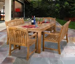 bali 63 rectangular teak table with benches and chairs