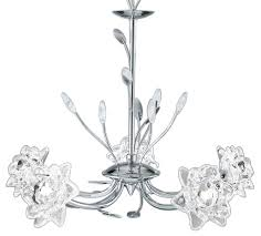 bellis polished chrome 5 light chandelier with flower glass shades