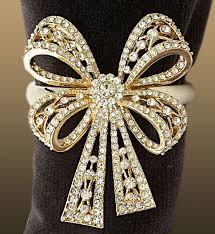 platinum swarovski crystals napkin ring 1 Swarovski Crystal Napkin Ring Set  LObject Antique Platinum Bowtie Rings