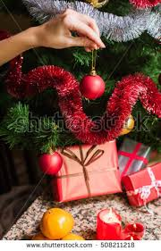 Hand Decorated Christmas Balls Closeup Female Hand Decorating Christmas Tree Stock Photo 42