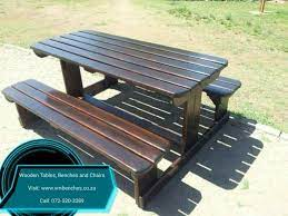 wooden patio benches and table