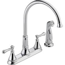 delta cassidy 2 handle standard kitchen faucet with side sprayer in arctic stainless 2497lf ar the home depot