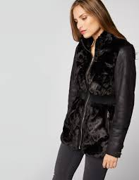belted leather and faux fur jacket