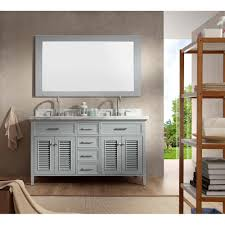 ariel kensington 61 double sink vanity set with carrera white marble countertop grey free modern bathroom