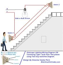 how to control a lamp light bulb from two places using two way two way light switch diagram