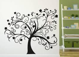 Tree Design Doodad Extra Large Eerie Black Abstract Tree Design Wallsticker