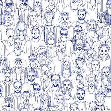 People Pattern Fascinating Hand Drawn Crowd People Seamless Vector Pattern Stock Image And