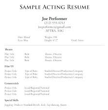 Resume Examples For Actors Acting Resume Example Talent Resume Template Actors Resume Template