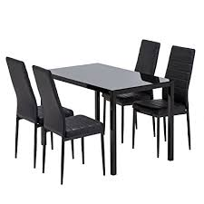 mecor gl dining table set 5 piece kitchen table set 4 leather chairs metal legs