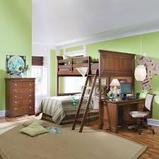 astonishing little boys bedroom design with brown wooden varnished bunk beds fitted stair on the beds bunk bed computer desk