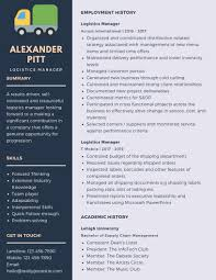 Logistics Management Resume Logistics Manager Resume Example