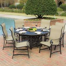 la salle 7 piece sling patio dining set with fire pit