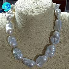 new freshwater genuine white baroque pearl necklace 18 18x22mm sterling silver clasp