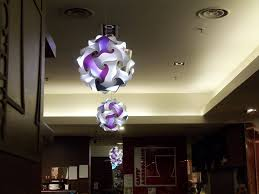unique circular shape hanging double chandelier lighting with purple white color