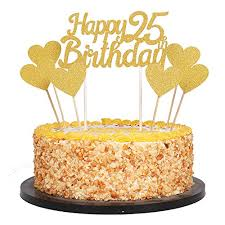 Amazoncom Qiynao Gold Glittery Happy Birthday Cake Toppers And
