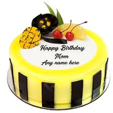 Write Your Mother Name On Beautiful Fruit Birthday Cake Images My
