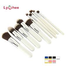 10 pcs pro makeup set silver black white powder foundation eyeshadow eyeliner lip cosmetic brushes blending blush makeup tool realbig