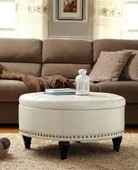 large round ottoman coffee table collection desk and table white leather round storage ottoman coffee