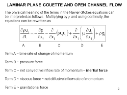 laminar plane couette and open channel flow ppt time averaged infected navier stokes equation