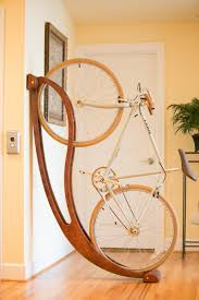 curved brown lacquer teak wood wall bicycle holder affordable wooden bicycle rack for your recomendation