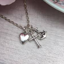 details about faith hope love charity silver necklace charm anchor heart cross pendant gift
