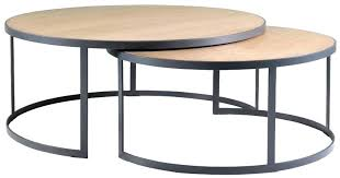 nesting coffee tables round nesting coffee table block chisel round weathered oak nested with matt black