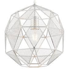 hanging ceiling pendant light chrome geometric lamp shade bulb holder fitting