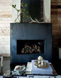 fireplace surround kits living room eclectic with antlers black and white