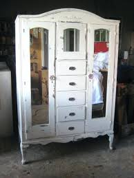 armoire furniture antique. Distressed Armoire Furniture Vintage White Finish Shabby Chic Bedroom Wardrobe Closet Cabinet Mirrors On Antique