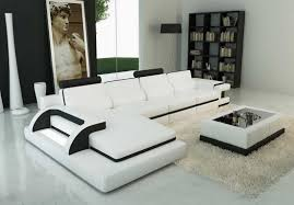 contemporary sectional couch  white italian leather inside