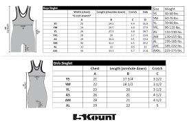Size Chart Singlet 5kount