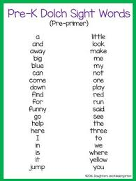 dolch primer free prek dolch sight word list pre primer high frequency words