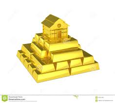 Pyramid Houses Gold Pyramid House At The Top Stock Illustration Image 42914367