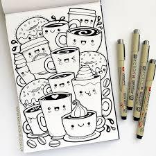 art drawing doodles kawaii coffee sketchbook drawing for if draw a week by kate hadfield sketchboo art drawing